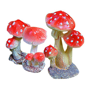 Practical 3-Piece Miniature Fairy Garden Mushroom Ornament Dollhouse Plant Pot Figurine DIY Decor Home Decoration Style2 3-Piece