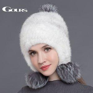 Gours reais Chapéus para mulheres malha Pom Poms Gorros Moda Thick Quente Em Caps Inverno com 3 Fur Balls New Arrival