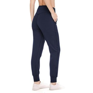 L-26 Women's High Waist Pants Sports Yoga Pants Fitness Running Leggings Solid Color Casual long Trouser XIVC#