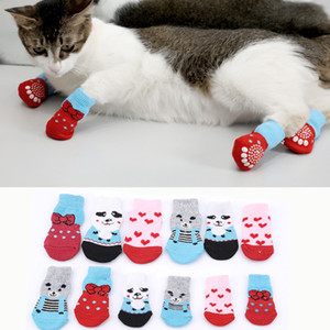 4pcs Pet Dog Puppy Cat Shoes Slippers Non-Slip Socks Pet Cute Indoor for Small Dogs Cats Snow Boots Socks supplies