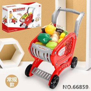 Kitchen Toy Shopping Cart Set Pretend Play House Plastic Cutting Simulation Fruit Vegetables Mini Food Girls Educational Gifts