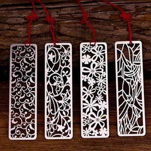 1pc Creative Flower creux Bookmarks Vintage Métal signet avec noeud chinois apprentissage Stationery Office cadeau enseignant