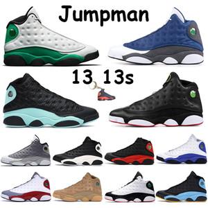 ولدت 2020 Jumpman القط الأسود 13 13S أحذية كرة السلة الصوان عكس حصل على لعبة الحظ قبعة خضراء جزيرة سوداء ورجل ثوب حذاء