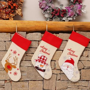 Lovely Christmas Stockings 3 Styles of Santa, Snowman, Reindeer, Xmas Character 3D Plush Linen Hanging Tag Knit Border MY-inf0359