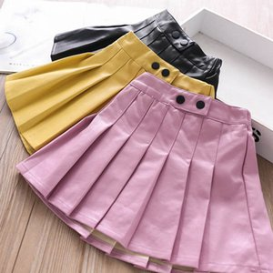 2020 new Autumn Winter girls skirts 3color Pu leather kids skirts fashion princess Pleated skirts Boutique girls clothes B2035