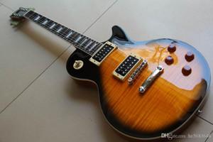 Kostenloser Versand ! Großhandel Neue Ankunft LP R9 Standard E-Gitarre Einteiler Hals in Braun Burst 120528