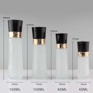 100ml 50pcs lot glass clear frosted lotion pump bottle with gold pump and black plastic lid with patterned
