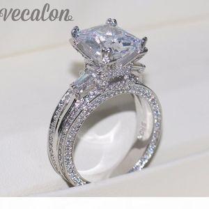 Vecalon Women Big Jewelry ring Princess Cut 10ct 5A Zircon stone 300pcs Cz 925 Sterling Silver Engagement Wedding Ring Gift