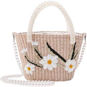 مصمم لؤلؤ مطرز سترو حقيبة شاطئ اليدوية الكتف حقيبة عارضة حقيبة يد نسائية حقائب السيدات 2020 حمل