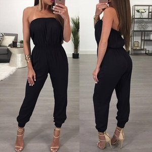 Black Strapless Jumpsuit Women Sleeveless Summer Jumpsuit 2018 Office Work Wear Elegant Casual Women Clothes Set Rompers Clothes