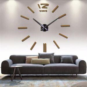 Wall Clock 3D design DIY Clock Acrylic Mirror Stickers Home Decor Living Room Quartz Needle Self Adhesive Large decorative