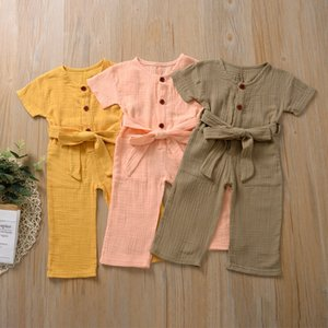 Stylish INS Toddler Baby Girls Jumpsuits Overalls Jumpsuits Linen Cotton Belt Blank Cotton Kids Girls Rompers Onesies 0-2T