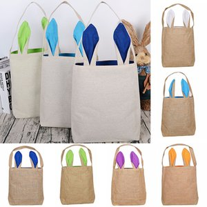 Easter Rabbit Ears Bag Handbag Cartoon Bunny Bucket Shoulder Canvas Bag Shopping Bags Party Gift Wrap Storage Bags 14 color WX9-1232