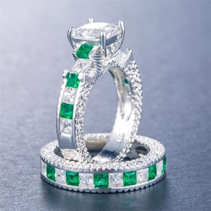 Choucong Jewelry Luxury Eternity Lover's Sterling For Princess Cut Unique Set Gemstones Party Topaz Bridal Ring 925 Silver Emerald Fnqpb