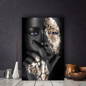 Afrikanische Kunst Black Gold Frauen-Ölgemälde auf Leinwand Cuadros Poster und Drucke Scandinavian Wandbild für Wohnzimmer-Dekor