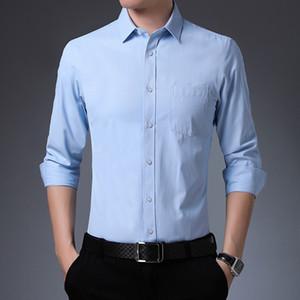 Hombres de la camisa del resorte del color sólido de la camisa no necesita plancha de manga larga de los hombres del otoño con las prendas de vestir casuales bolsillos negocio más el tamaño de los hombres