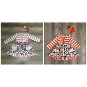 Girlymax fall winter baby girls dress stripe orange dustyfloral flower children clothes boutique milk silk knee length match bow 0922