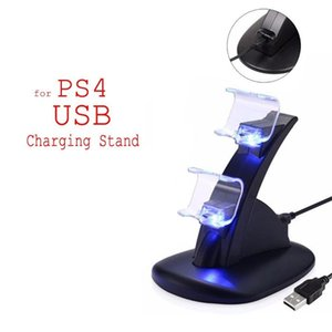 LED Dual Charger Dock Mount USB Charging Stand For PlayStation 4 PS4 Xbox One Gaming Wireless Controller With Retail Box ePacket Free