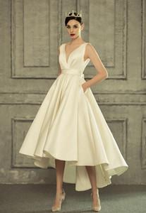 Мода лето Boho Ivory Свадебное платье 2020 Сексуальная Белый Свадебные платья женщин V шеи атласная Backless смычка Формальное невесты платья партии