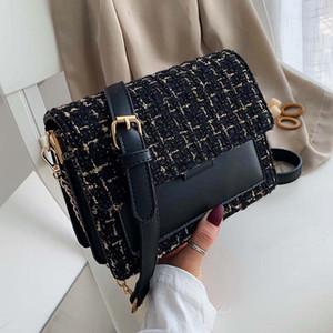 Cotone e lino Crossbody Borse per le donne 2020 inverno Shoulder Bag Messenger femminile Mini catena borse e portamonete F-593