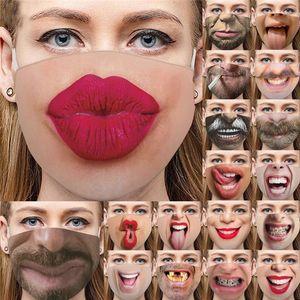 Komik 3D İnsan Yüz Yıkanabilir Yeniden kullanılabilir Bisiklet Maske Tasarımcı Lüks Yüz Maskesi Toz geçirmez Moda Baskı Pamuk Maskeler Maske