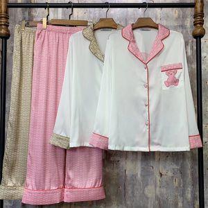 Дышащие G Письмо Пижама Набор Медведь Шелковые пижамы Высококлассные Главная Одежда для женщин Девушка ночные рубашки Горячие продажи