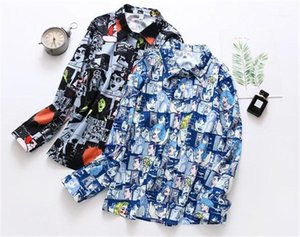 Shirts Fashion Print Panelled Natural Color Shirts Long Sleeve Casual Lapel Neck Shirts Catoon Print Designer Womens