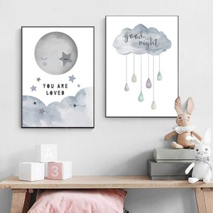 Cartoon Painting Print Good Night Cloud Canvas Painting Nursery Decor Wall Art Moon Star Art Poster Wall Pictures For Kids Room