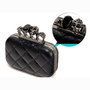New-Мода женщина Кожа Evening Ручной клатчи Creepy Череп Кольцо сумка Halloween Party цепь сумка на ремне, плед кошелек XA219H