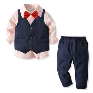New Boys Clothing Children Boys Sets 4 Pcs Clear Gentleman Baby Kids Boys Leisure Suit Shirt Shirt Vest Tie Pant Clothes set