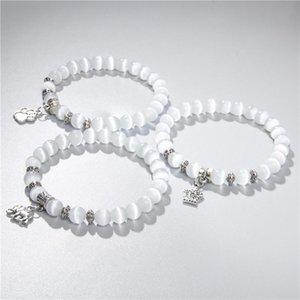 Kadınlar Şanslı gümüş rengi yusufçuk hayvan çekicilik beyaz kedi Eye bilezik 8mm cam taş Boncuk Bilezik dostluk takı hediye
