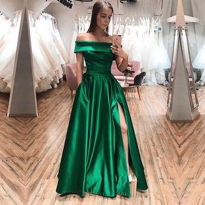 Green Evening Dresse Formal vestido noiva sereia prom party robe de soiree Prom gown luxury frock sexy side slit pockets
