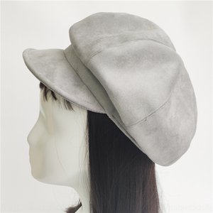4Wpd3 Suede eight-piece newsboy Gray black Suede circumference eight-piece set hat Japanese style all-match newsboy berei autumn and wi csfl7