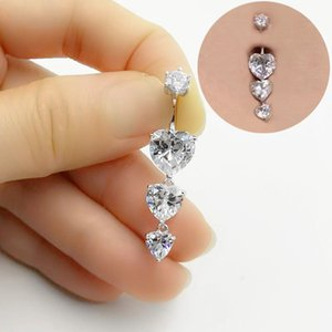Fashion New 925 sterling silver belly button ring heart cubic zircon navel belly piercing wholesale jewelry