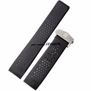 JAWODER pulseira 22 milímetros 24 milímetros preto implantação de aço inoxidável Mergulho Buracos de borracha de silicone Assista bracelete Band para T-A-G RELÓGIO
