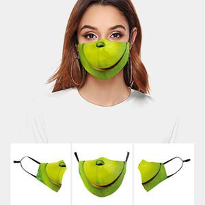 2020 yeni tasarımcı yüz maskesi moda maskeleri Özelleştirilmiş Yetişkin Soğuk Kafatası Yeşil Saç Canavar Komik Yüz Komik İfade Baskı Cadılar Bayramı
