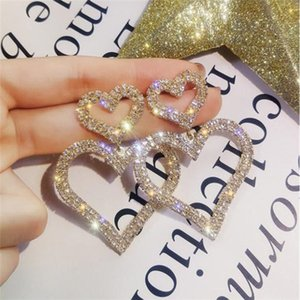 Special Price Fashion Exaggerated Crystal Double Heart Earrings Contracted Joker Long Women Drop Earrings Jewelry Gifts .