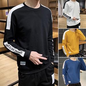 Nuova tendenza uomini felpe con cappuccio casuale Solid Splice Pullover O-Collo Slim Fit Uomo Sportswear Felpa Stampa Maschio Hoody Tuta S-4XL