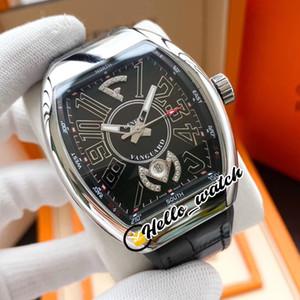 Neue Herrenkollektion Vanguard 3D-Zifferblatt schwarz V 45 SC DT Automatik Herren-Uhr-Stahl-Gehäuse Leder Gummi-Bügel passt Hello_Watch 7 Farbe