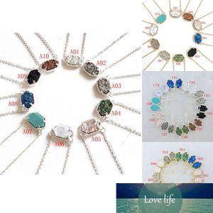 Hot vendita Druzy collane ciondolano l'orecchino regolati per le donne geometrica naturale Drusy ciondolo in pietra delle catene di fascino gioielli femminili di moda