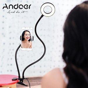 Zwei Andoer in One LED-Ringlicht mit Handy-Halter-Standplatz Video-Licht-Lampe für Live Stream Makeup Selfie Recording Lighting