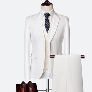 Mens Suit 2020 Business Casual Suits Sets Fashion for Wedding Male Blazers Coat Trouser Waistcoat Jacket Pant Vest Suit Slim Fit