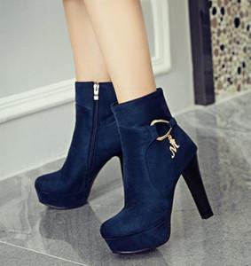Moda TORNOZELO MONTANTES Big Small Size 32 33 34 Para 40 41 42 43 Moda feminina Inverno Ankle Bootie Burgundy Blue Black vêm com caixa