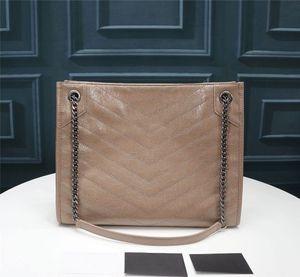 أفضل 3A الجودة 577999 33CM NIKI المتوسطة حقيبة التسوق مجعد خمر جلد العجل حقائب جلدية الكتف، وتأتي مع حقيبة الغبار، شحن مجاني