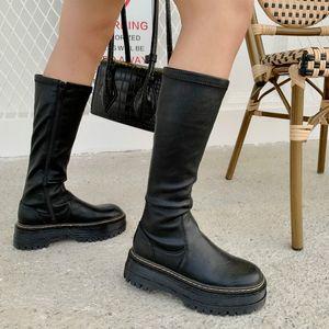 MONMOIRA ronde plate-forme Toe Cuissardes Femmes Noir Punk Chunky Chaussures Talon Designer Femmes cousant Zipper Bottes d'équitation