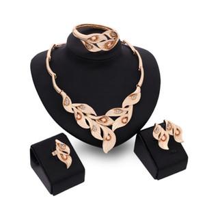 desigenr jóias jóias conjuntos de flores do casamento ajusta plantas forma anéis brincos colares pulseiras para mulheres moda quente