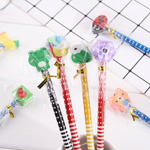 HB Style Kids Pencils with Erase Selling in 10 Pcs Mixed Colors Cartoon Shape Childrens Wrinting Pencil Gifts Stationary