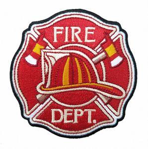 HOT SALE Fire Dept-Flecke mit harten Hut und Achsen Stickerei Abzeichen 3,5-Zoll-Eisen auf Flecke Vorderseite Kleidung Applique frei KXzj #