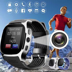 Android, iOS SmartWatch android SmartWatch İçin Su geçirmez fotoğraf makinesi telefon Mate SIM Kart Adımsayar Life ile T8 Bluetooth Smart İzle