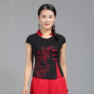 0kivW court coton pull en lin de style ethnique Qiantang EvA8f Pull manche brodé broderie style national mince et lin